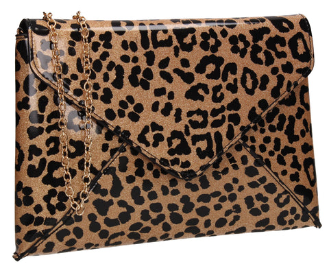 Marlie Patent Envelope Leopard Print Clutch Bag Brown
