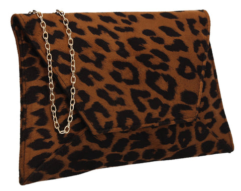 Dory Clutch Bag Dark Leopard Brown