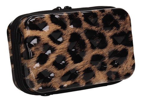 Natalia Acrylic Shell Compact Box Crossbody Bag Leopard