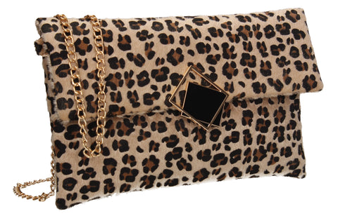 Callie Faux Leather Animal Print Elegant Clutch Bag Leopard