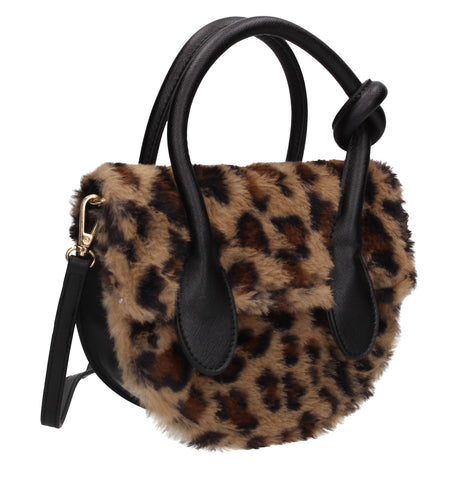 Jamie Faux Fur Crossbody Shoulder Bag Leopard Brown
