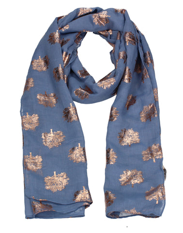 Oak Tree Print Rose Gold Foil Winter Scarf Light Blue