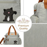 Swanky Swans Kempton Handbag with Lola Cat Motif Pale GreyCheap Fashion Wedding Work School