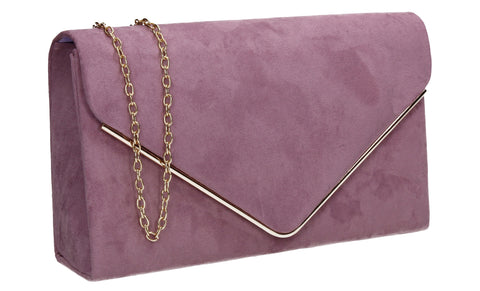 Poppy Faux Suede Envelope Clutch Bag Lilac