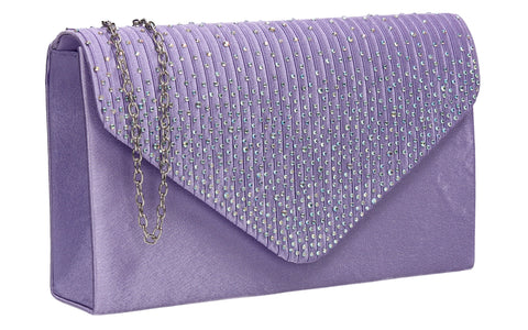 Abby Diamante Clutch Bag Lilac