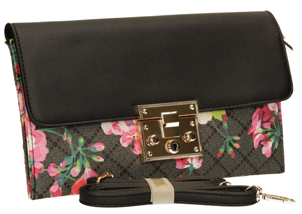 SwankySwans Milly Clutch Bag Black Clutch Bag Flapover Floral Night Out Faux Leather