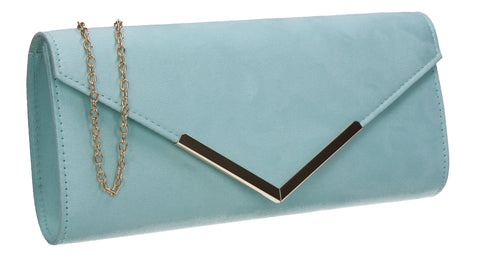 Leona Envelope Faux Suede Clutch Bag Mint Blue
