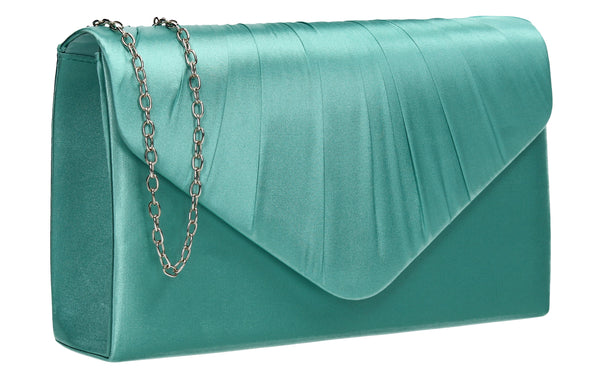 Chantel Beautiful Satin Envelope Clutch Bag Mint