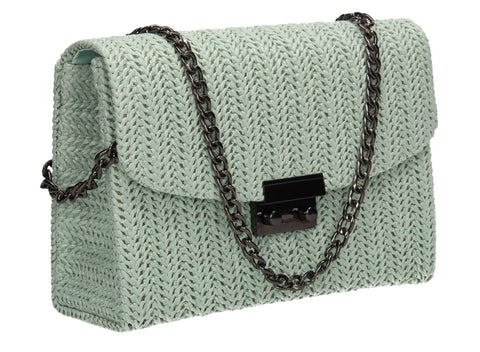 Lottie Woven Effect Crossbody Clutch Bag Mint