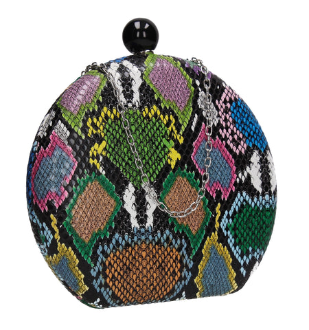 Gemma Minaudiere Faux Snakeskin Box Clutch Bag Multicoloured