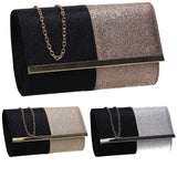 SWANKYSWANS Gia Two Tone Glitter Clutch Bag Black Silver Cute Cheap Clutch Bag For Weddings School and Work