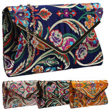 SWANKYSWANS Cedar Floral Clutch Bag Navy Blue Cute Cheap Clutch Bag For Weddings School and Work