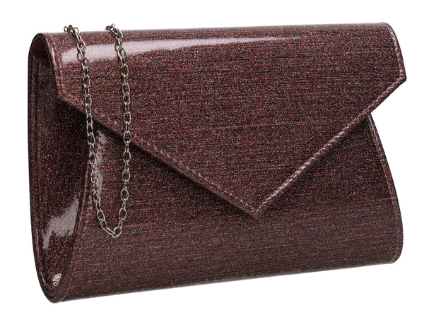 Zoe Sparkly Envelope Clutch Bag Muilt Red