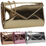 SWANKYSWANS Emely Patent Clutch Bag Gold Cute Cheap Clutch Bag For Weddings School and Work