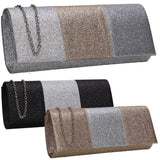 SWANKYSWANS Emery Glitter Clutch Bag Silver Cute Cheap Clutch Bag For Weddings School and Work