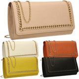 SWANKYSWANS Ella Chain Flapover Clutch Bag Yellow Cute Cheap Clutch Bag For Weddings School and Work