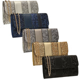 SWANKYSWANS Gigi Glitter Clutch Bag Black Cute Cheap Clutch Bag For Weddings School and Work
