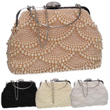 SWANKYSWANS Hailee Faux Pearl Detail Clutch Bag Black Cute Cheap Clutch Bag For Weddings School and Work