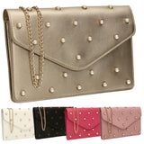 SWANKYSWANS Emily Pearl Clutch Bag Champagne Cute Cheap Clutch Bag For Weddings School and Work