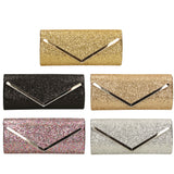 SWANKYSWANS Giselle Glitter Clutch Bag Champagne Cute Cheap Clutch Bag For Weddings School and Work