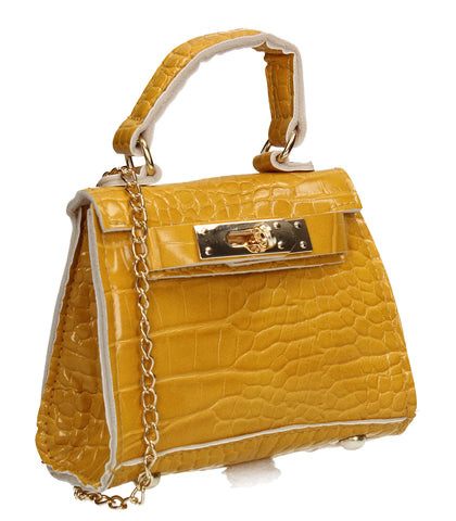 Layla Faux Leather Croc Mini Grab Crossbody Evening Bag Mustard Yellow