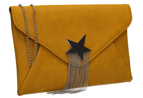 Cameron Shiny Star Motif Clutch Bag Mustard Yellow