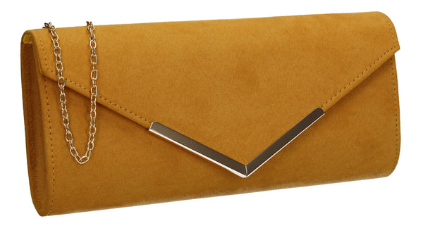 Leona Envelope Faux Suede Clutch Bag Mustard Yellow