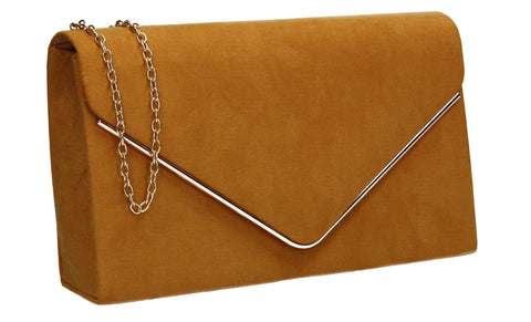 Poppy Faux Suede Envelope Clutch Bag Mustard Yellow