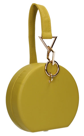 Rayne Circular Style Faux Leather Clutch Bag Mustard Yellow