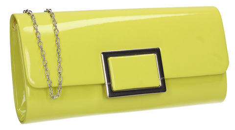 Katelyn Flapover Patent Clutch Bag Neon Green