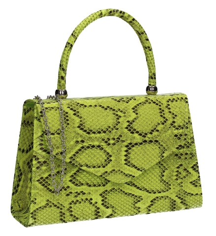 Lucy Mini-Handbag Faux Leather Snakeskin Effect Clutch Bag Neon Yellow