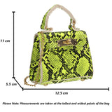 Layla Faux Snakeskin Leather Mini Grab Crossbody Clutch Clutch Bag Lime Green