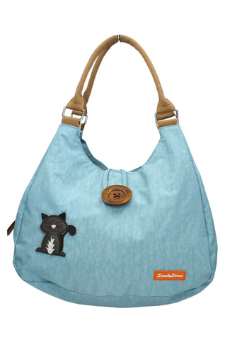 Camden Cat Nylon Shoulder Bag - Light Blue-Crossbody-SWANKYSWANS
