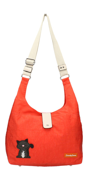Swanky Swans Cindy Cat Nylon Shoulder Bag OrangeWomens Girls Boys School Crossbody Animal Cute