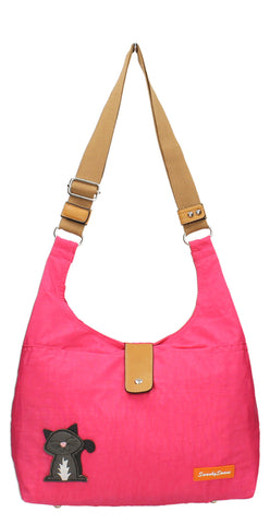 Cindy Cat Nylon Shoulder Bag - Fuschia-Crossbody-SWANKYSWANS