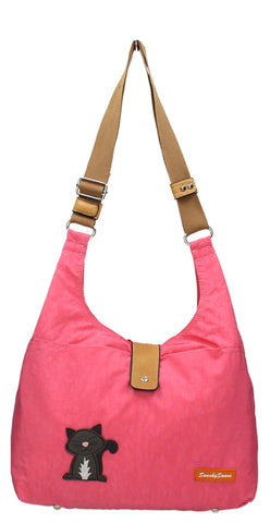 Swanky Swans Cindy Cat Nylon Shoulder Bag Light PinkWomens Girls Boys School Crossbody Animal Cute