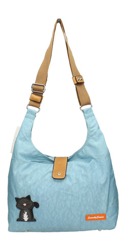 Cindy Cat Nylon Shoulder Bag - Light Blue-Crossbody-SWANKYSWANS