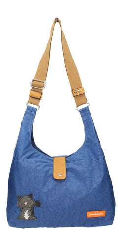 Cindy Cat Nylon Shoulder Bag - Blue-Crossbody-SWANKYSWANS