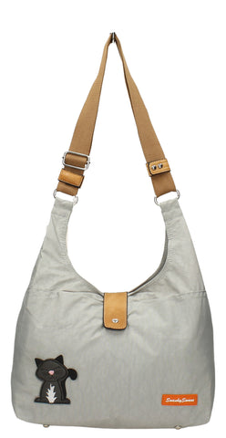 Cindy Cat Nylon Shoulder Bag - Light Grey-Crossbody-SWANKYSWANS