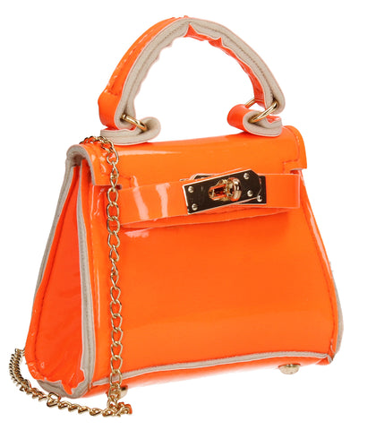 Layla Patent Leather Mini Grab Evening Clutch Crossbody Bag Orange