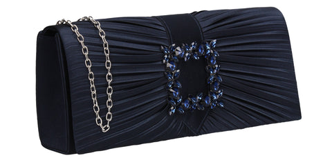 Chloe Satin Clutch Bag Navy Blue