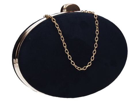 Alisha Circular Faux Suede Style Clutch Bag Navy Blue