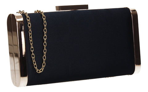 Kathleen Faux Suede Box Shape Clutch Bag Navy Blue