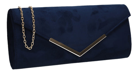 Leona Envelope Faux Suede Clutch Bag Navy Blue