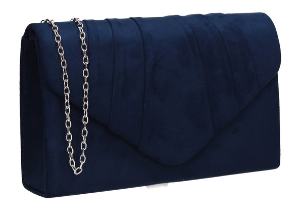 Iggy Faux Suede Clutch Bag Navy