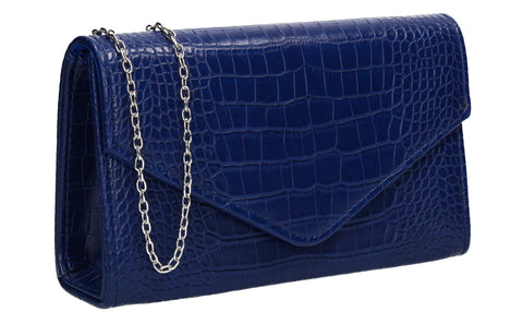 Emily Croc Effect Clutch Bag Navy Blue