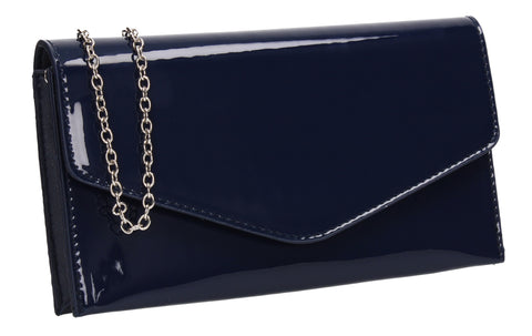 Evie Plain Patent Envelope Clutch Bag Navy Blue