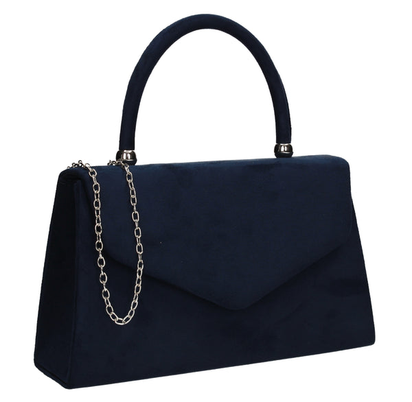 Kendall Faux Suede Clutch Bag Navy