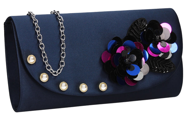 SWANKYSWANS Joyce Clutch Bag Navy Cute Cheap Clutch Bag For Weddings School and Work