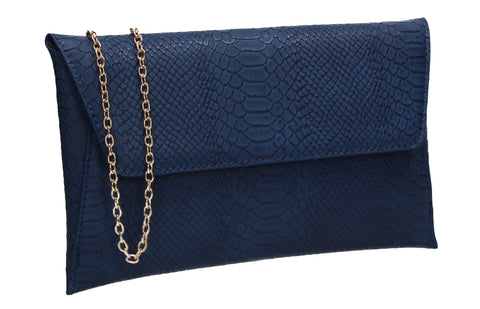 Remi Faux Leather Snakeskin Effect Flapover Clutch Bag Navy